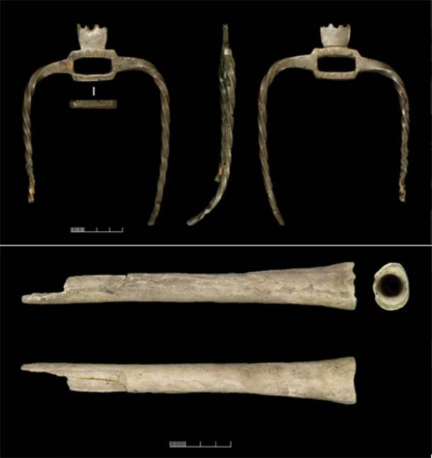 Objeto con puntas único (arriba) que se encuentra junto a un instrumento musical de hueso humano (abajo) de Wilsford G58 (Crédito: © Universidad de Birmingham, David Bukachit / Museo de Wiltshire / Antigüedad)