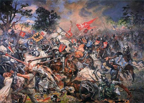 La batalla de Grunwald de 1410, que se ve en esta pintura al óleo de 1931 de Wojciech Kossak, es de gran importancia tanto para el pueblo polaco como para el lituano. (Dominio público)