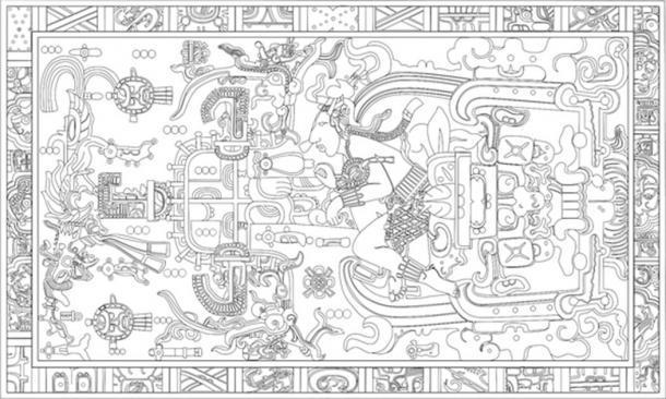 Dibujo lineal de la tapa del sarcófago descubierto en el templo de las inscripciones. (Madman2001 / CC BY-SA 1.0)