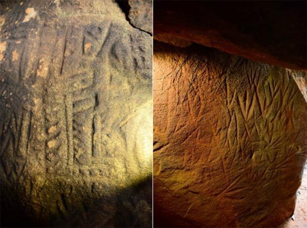 Izquierda; Pared lateral izquierda en el callejón sin salida de la cámara lineal que representa figuras antropomorfas. Imagen © EASL | CCF-Polonnaruwa. derecha; Pared lateral izquierda en el callejón sin salida de la cámara lineal que representa figuras antropomorfas. Imagen © EASL | CCF-Polonnaruwa