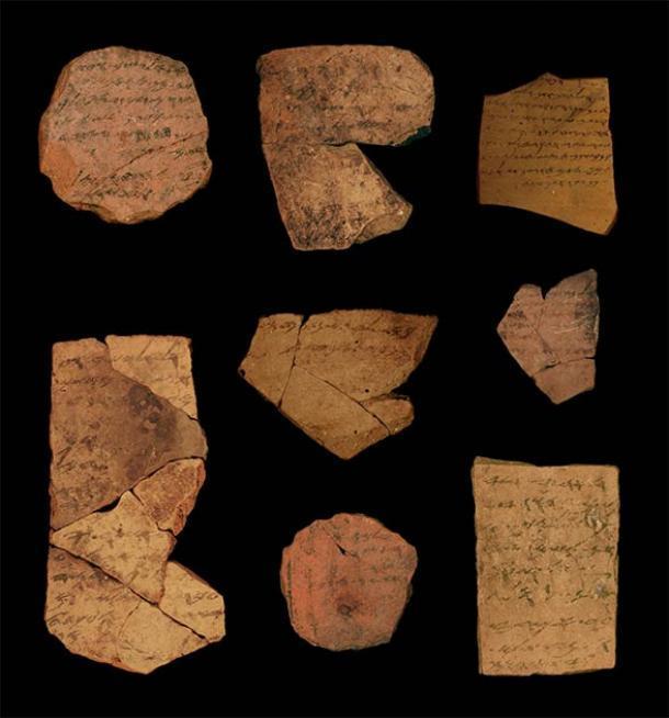 Fragmentos de texto antiguo utilizados en el estudio. (Michael Cordonsky, Universidad de Tel Aviv y Autoridad de Antigüedades de Israel)