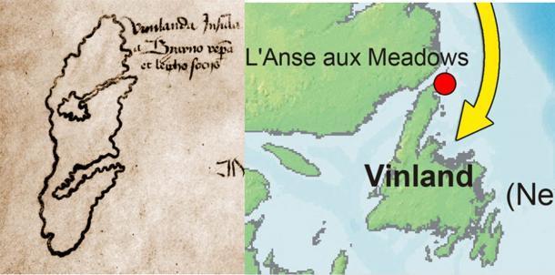 Izquierda; foco en Vinland en el mapa de Vinland. (Dominio público) Derecho; Centrarse en Vinland en un mapa moderno (CC BY-SA 2.5)