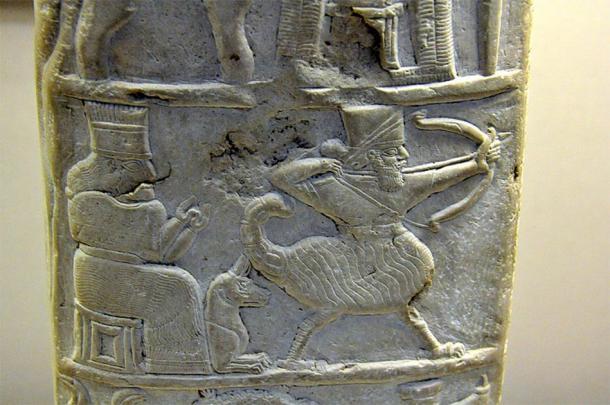 Izquierda; Detalle de la diosa Nintinugga, su perro y un hombre escorpión de kudurru de Nabucodonosor que otorga a Šitti-Marduk la libertad de impuestos. Museo Británico. (CC BY-SA 4.0). Derecha, dominio público)