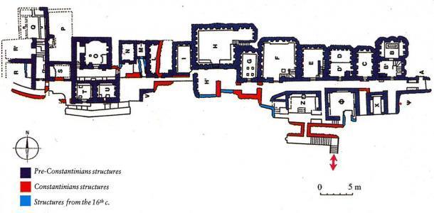 Mausoleos en la necrópolis del Vaticano con clasificación temporal de los edificios, con el área P mostrada en la parte superior izquierda. (Mogadir / CC BY 3.0)