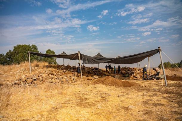 El fuerte descubierto en los Altos del Golán ahora está siendo excavado por la Autoridad de Antigüedades de Israel. (Yaniv Berman / Autoridad de Antigüedades de Israel)