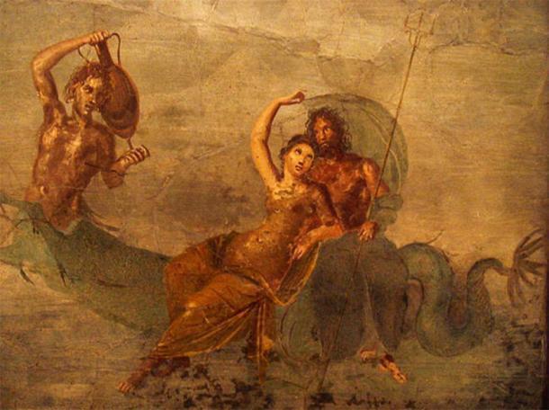 ¿Podría el artefacto del dios de la sal descubierto ser una representación de Salacia, identificada con la diosa griega Anfitrite, que se ve aquí en un antiguo fresco romano? (Stefano Bolognini)
