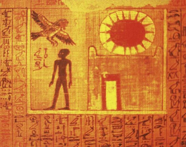 Ba, un aspecto del alma humana relacionado con las cigüeñas y el más allá, volando desde una tumba para viajar a la tierra de los muertos. (Soutekh67 / CC BY-SA 3.0)