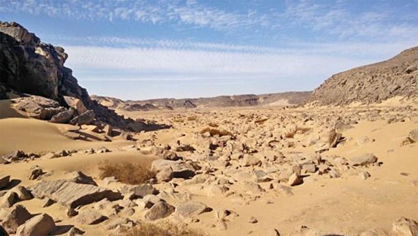El área de investigación Wadi el Malik al este de Asuán con figuras grabadas en roca. (Ludwig Morenz)