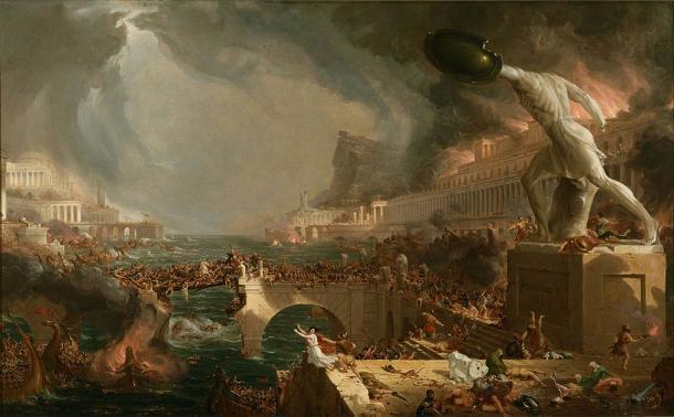La destrucción, del pintor inglés Thomas Cole, fue pintada para mostrar la caída del Imperio Romano. (Dominio público)