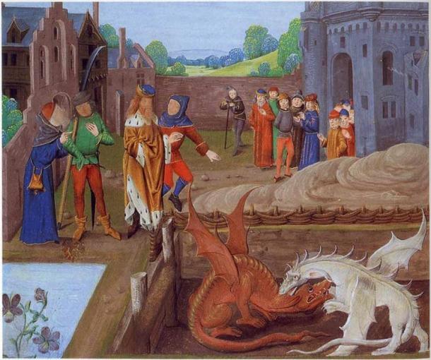 En la imagen de arriba, Vortigern se sienta al borde de un estanque de donde emergen dos dragones, uno rojo y otro blanco, que luchan en su presencia. Detalle de la Biblioteca del Palacio Lambeth MS 6 folio 43v que ilustra un episodio en Historia Regum Britanniae (c.1136). (Dominio publico)