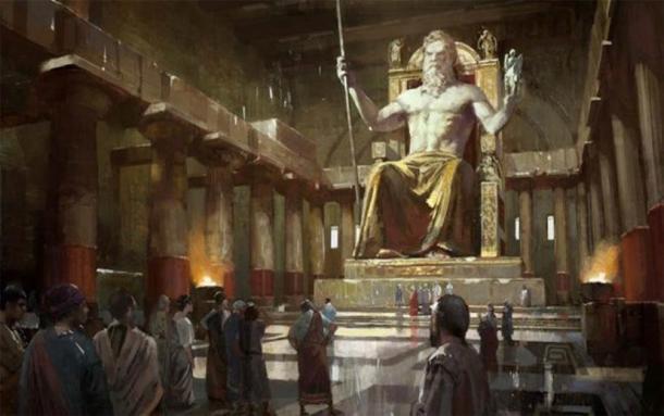 La estatua de Zeus en Olimpia, fue creada por el escultor griego Fidias y medía 39 pies (12 m) de altura. Fue conocida como una de las Siete Maravillas del Mundo. (excluyendo theaegis.blogspot.com)