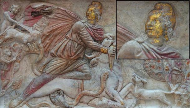 Gran relieve de tauroctonía policromada muestra atuendo de Anatolia y gorro frigio, del Mithraeum de S. Stefano Rotondo, finales del siglo III d.C., Museo de las Termas de Diocleciano, Roma. (Carole Raddato / CC BY-SA 2.0)