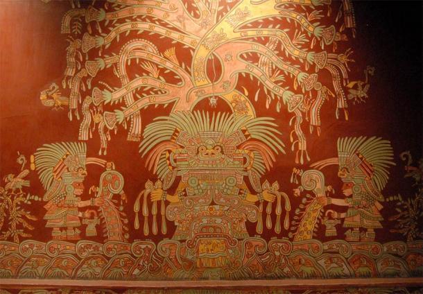 Una reproducción de uno de los murales que representan a la Mujer Araña o Gran Diosa de Teotihuacán, del complejo de departamentos Tepantitla, en exhibición en el Museo Nacional de Antropología, Ciudad de México. Fuente: Thomas Aleto / CC BY 2.0