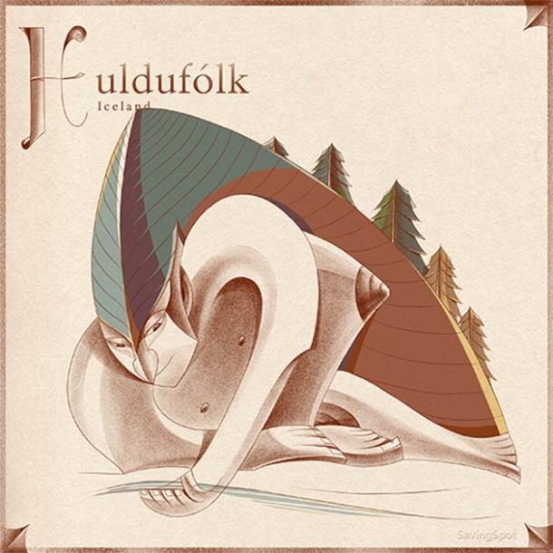 Ilustración de Huldufólk de Islandia. (Laimute Varkalaite / SavingSpot)