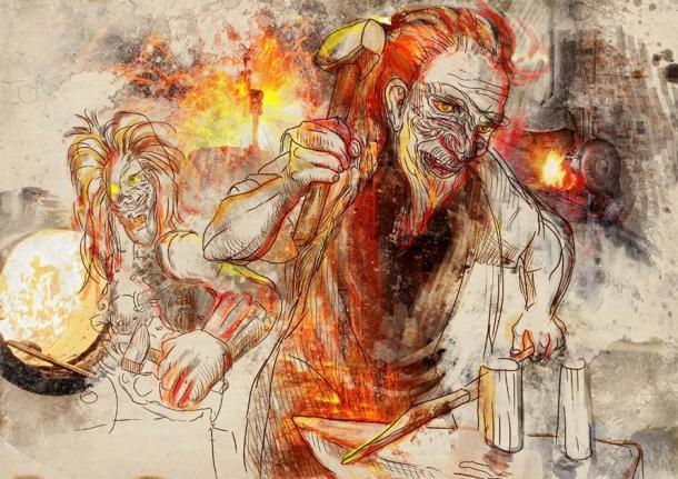 """Un dibujo de Hefesto """"trabajando"""" como herrero. (kuco / Adobe Stock)"""