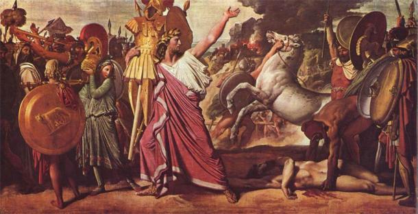 Rómulo, vencedor de Acron, lleva el rico botín al templo de Júpiter. (Dominio público)