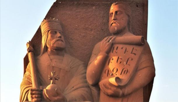 Estatua de Vramshapuh y Mesrop Mashtots cerca del Monumento al Alfabeto Armenio. (Yerevantsi / CC BY-SA 4.0)