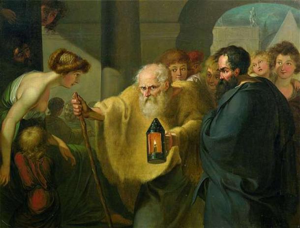 """""""Diógenes en busca de un hombre honesto"""" (1780) de Johann Heinrich Wilhelm Tischbein. (Dominio publico)"""