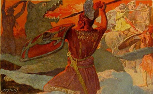 """Ragnarök fue una serie de eventos, incluido el fin de la batalla mundial, que provocó la muerte de muchos dioses, desastres naturales y la inmersión del mundo. Se le conoce como el """"Crepúsculo de los Dioses"""". (Dominio publico)"""