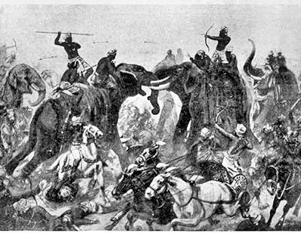 La Batalla de Vatapi, entre Pallavas y Chalukyas, tuvo lugar cerca de la capital Chalukya de Vatapi (hoy Badami) en 642, y terminó con la derrota y muerte de Pulakesi II. (Dominio público)