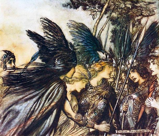 Hijas de Odin, las Valquirias, mostradas como guerreras. (Jappalang / Dominio público)