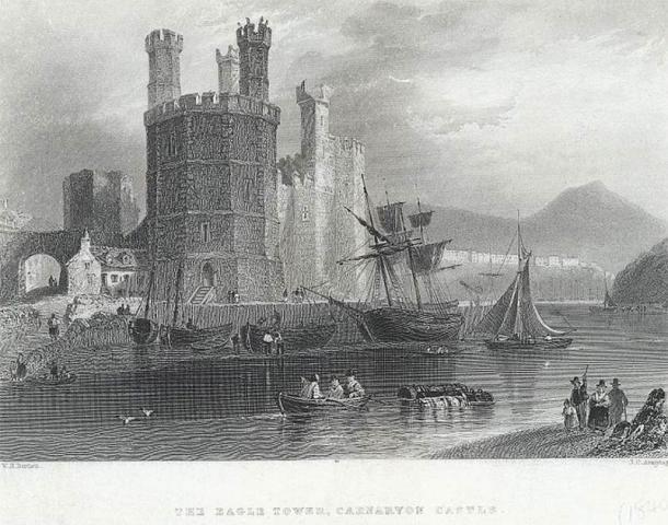 Grabado de la Torre del Águila en el Castillo de Caernarfon desde aproximadamente 1840. (Biblioteca Nacional de Gales / CC0)