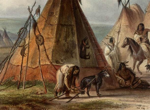 Detalle de una pintura de Karl Bodmer que muestra un perro con un travois en un campamento Assiniboine en las Grandes Llanuras. (Dominio público)