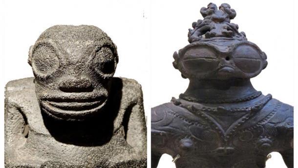 """Una comparación lado a lado de dos esculturas, separadas por vastas extensiones de océano turbulento. A la derecha, el dogu """"ojos con gafas"""" de Kamegaoka, período de Jomon tardío (1,000-400 aC) (CC BY SA 4.0) y a la izquierda, una escultura Tiki encontrada en las Islas Marquesas, Polinesia Francesa (Dominio Público)."""
