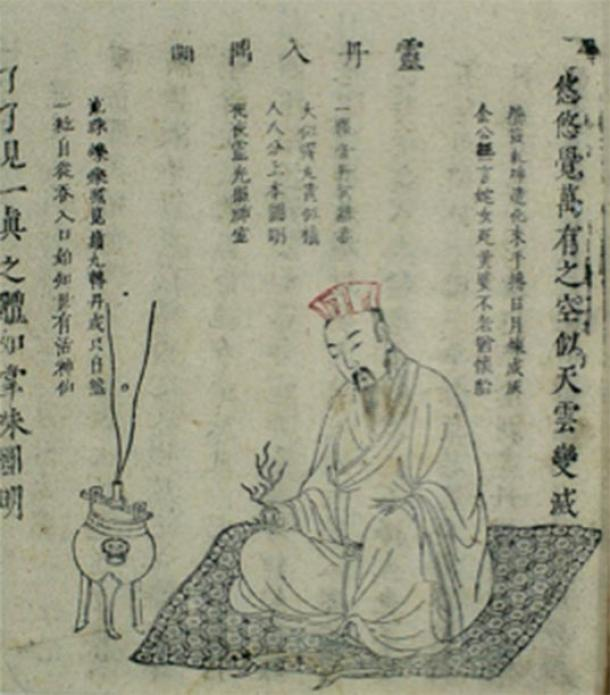 'Poniendo el elixir milagroso en el trípode' de Xingming guizhi (Punteros sobre la naturaleza espiritual y la vida corporal) de Yi Zhenren, un texto taoísta sobre alquimia interna publicado en 1615 (tercer año del período de reinado de Wanli de la dinastía Ming). (Imágenes de bienvenida / CC BY 4.0)