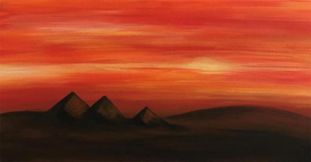 Las pirámides de Giza de Egipto al atardecer (acrílico sobre lienzo). (Jennifer Stephenson / autor proporcionado)