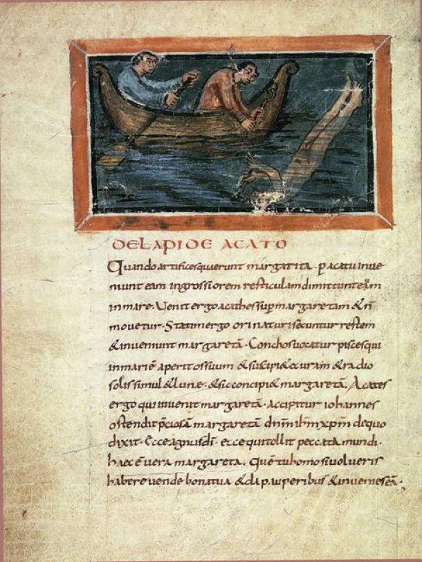Recogiendo perlas, Bern Physiologus (manuscrito del siglo IX que describe el buceo para la recolección de perlas) (Public Domain)