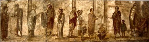 Fresco de Pompeya, que muestra la vida cotidiana en el mercado romano. (Dominio publico)