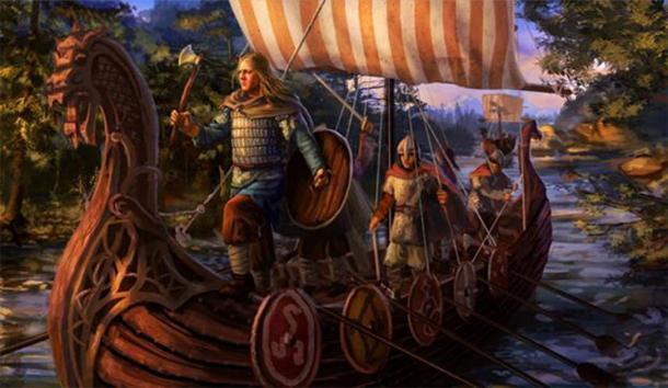 Vikingos en un barco. (otro viajero / Deviant Art)