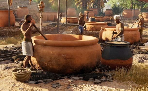 Representación de antiguos egipcios elaborando cerveza. (Mary Harrsch / CC BY-NC-SA 2.0)