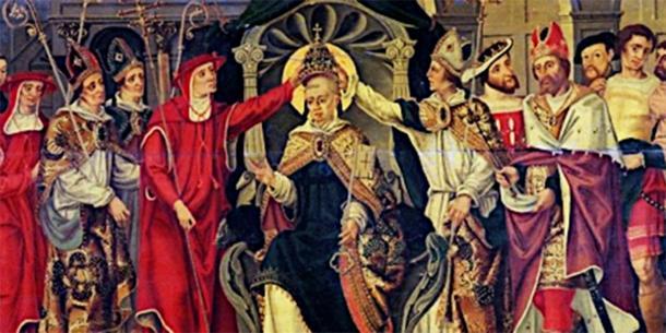 Representación de la coronación del papa medieval Celestino V. (Escuela francesa / Dominio público)