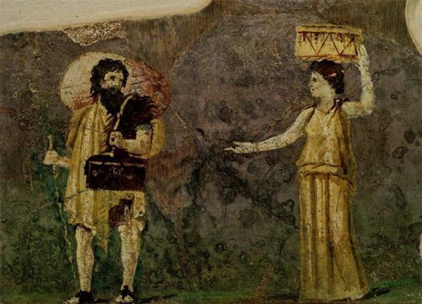 Pintura mural del siglo I que muestra a los filósofos cínicos Cajones e Hipparchia. Desde el jardín de la Villa Farnesina, Museo delle Terme, Roma. (Dominio publico)
