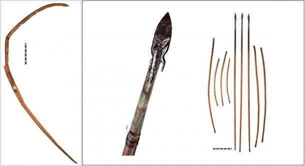 El cuenco de un metro de largo estaba hecho de una sola pieza de abedul, y una selección de flechas. (Imagen: A.Yu. Makeeva)