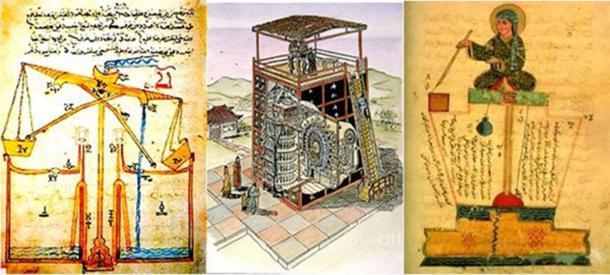 Tres representaciones diferentes de relojes de agua antiguos, todas parten de la historia del cronometraje. (Dominio público)