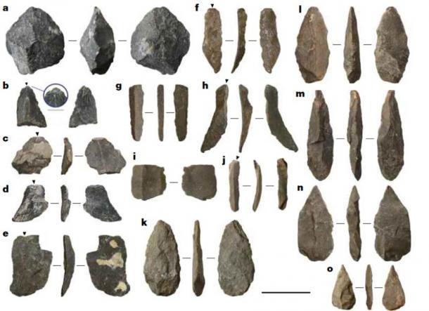 Ejemplos de artefactos líticos de la cueva Chiquihuite. A, Core. b – e, copos; la incrustación en b enfatiza una plataforma aislada. f – j, Blades. k – o, puntos. Barra de escala, 3 cm. (Ardelean et al., 2020 / Nature) Los investigadores dicen que esta industria lítica no tiene paralelo en el continente.