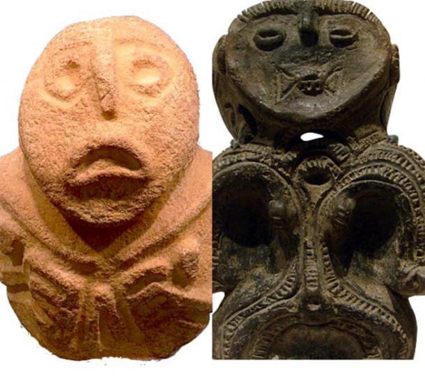 "La figura ""Progenetrix"" de Lepenski-Vir a la izquierda (CC BY SA 4.0) y su contraparte dogu a la derecha. (Dominio publico)"