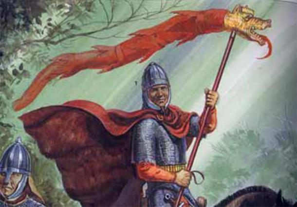 Un Sarmatian en el servicio romano llevando el estándar de dragón (Ilustración de Gerry Embleton)