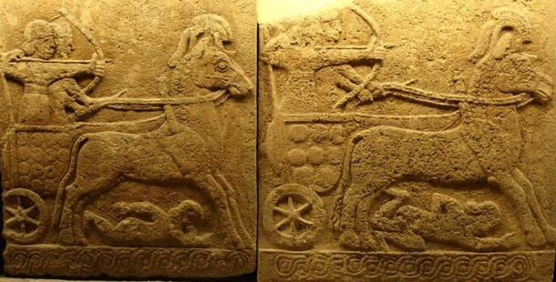 Bajorrelieve en ortostato de basalto; carro de batalla, Karkemish, siglo IX a. C; estilo hitita tardío con influencia asiria. Wikimedia Commons