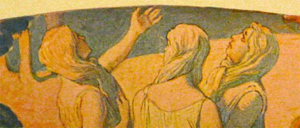 Mujeres mirando a Odin y Frigga con el pelo largo atado como barbas para hacerse pasar por hombres. En la mitología nórdica, y como en la sociedad nórdica, las mujeres no eran reconocidas de la misma manera que los hombres. (Bloodofox ~ commonswiki / Dominio público)