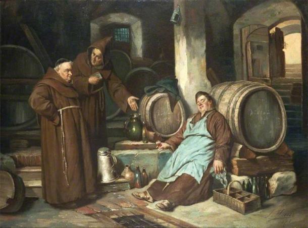 Representación de monjes medievales en una bodega de cerveza. (Joseph Haier / Dominio público)