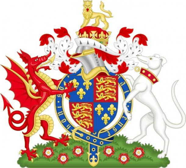 El escudo de armas de Enrique VII que muestra al dragón rojo (CC BY 2.0)