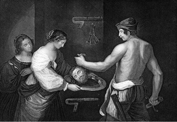 Herodes, Herodías y su hija (Salomé) sosteniendo la cabeza de San Juan Bautista. ( Stock de Tony Baggett / Adobe)