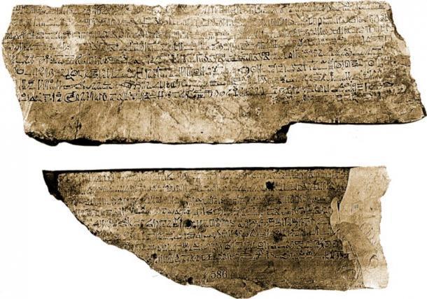 Ostracon CG 25216, uno de los ostracon más grandes jamás encontrados. Encontrado en 1886 en la tumba de Sennedjem (Deir el-Medina, Tumba Nr. 1), hoy en el Museo Egipcio de El Cairo, se divide en dos partes, una parte contiene la Historia de Sinuhe y la otra una carta privada. (Georges Daressy / Dominio público)