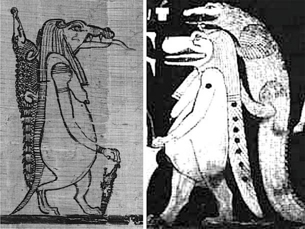 A la izquierda, Sobek como cocodrilo y Taweret como hipopótamo del Libro del Faiyum. A la derecha, la figura del cielo del cocodrilo y el hipopótamo como se ve en la tumba de Seti I, esta última representando las estrellas de Draco, Ursa Minor y quizás Ursa Major. Crédito: Andrew Collins.