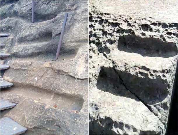 """La imagen a la derecha fue tomada a mediados de 2019 en un sitio a las afueras de Cusco, llamado """"Qenqo Chico"""". Este tipo de """"surco"""" de piedra lisa se encuentra en todas las ruinas de América del Sur; la academia moderna no lo explica. La imagen a la izquierda fue tomada a principios de 2019, durante el tiempo que pasé en la cumbre de Sigiriya, Sri Lanka. Observe la similitud en las marcas de corte, ya que la cara de la roca casi parece haber sido extraída mediante """"raspado"""" en golpes laterales precisos, algo extremadamente difícil de replicar con herramientas de metal. (Fotos cortesía del autor)"""