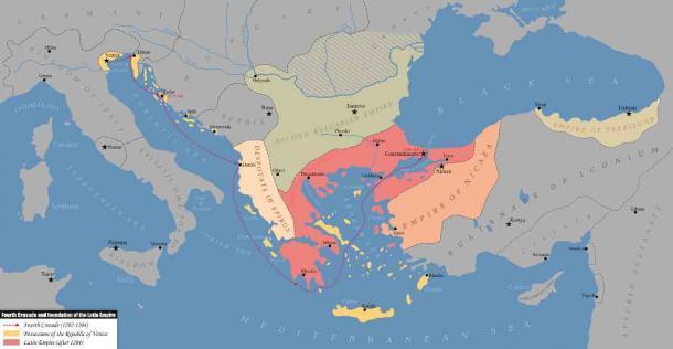 La Cuarta Cruzada y fundación del Imperio Latino (1202-1204 d.C.), que dio origen al Imperio de Trebisonda. (Kandi / CC BY-SA 4.0)